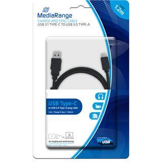1.20m MediaRange USB3.0 Anschlusskabel Super-Speed USB C Stecker auf USB A Stecker Schwarz vernickelt