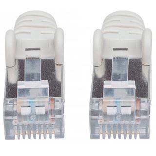 (€7,80*/1m) 0.50m Intellinet Cat. 6a Patchkabel S/FTP PiMF 500MHz RJ45 Stecker auf RJ45 Stecker Grau LSOH / LSZH / Rastnasenschutz
