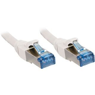 (€1,59*/1m) 15.00m Lindy Cat. 6a Patchkabel S/FTP RJ45 Stecker auf RJ45 Stecker Weiß halogenfrei / Rastnasenschutz / vergoldet