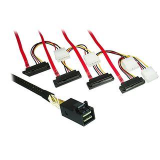 0.75m Good Connections SAS Adapterkabel SFF-8643 Stecker auf 4x SFF-8482 29pol Stecker + Strom Schwarz/Rot gewinkelt