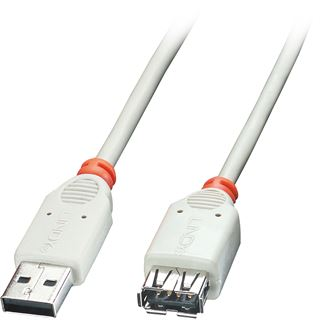 (€19,50*/1m) 0.20m Lindy USB2.0 Verlängerungskabel High-Speed USB A Stecker auf USB A Buchse Grau doppelt geschirmt / Knickschutzelement