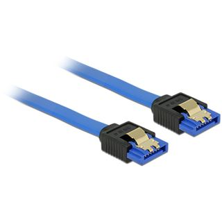 (€19,50*/1m) 0.20m Delock SATA 6Gb/s Anschlusskabel SATA Buchse auf SATA Buchse Blau AWG26 / mit Arretierung
