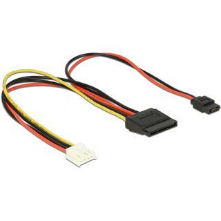 0.24m Delock Strom Adapterkabel 4pol Buchse Floppy auf SATA Strom Buchse Schwarz/Rot/Gelb Polybag