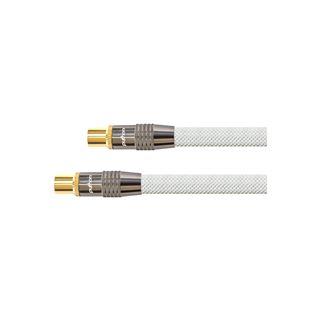 (€5,93*/1m) 1.50m PYTHON SAT Antennenkabel Premium Koax Stecker auf Koax Buchse Weiß 75 Ohm / Nylongeflecht