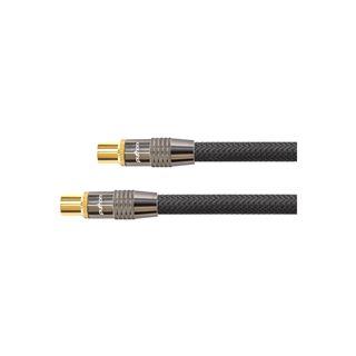 (€1,72*/1m) 7.50m PYTHON SAT Antennenkabel Premium Koax Stecker auf Koax Buchse Schwarz 75 Ohm / Nylongeflecht