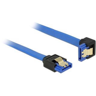 (€4,90*/1m) 1.00m Delock SATA 6Gb/s Anschlusskabel gewinkelt unten SATA Buchse auf SATA Buchse Blau mit Arretierung / Polybag
