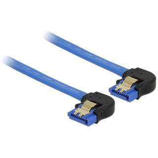 0.70m Delock SATA 6Gb/s Anschlusskabel gewinkelt unten SATA Buchse auf SATA Buchse Blau gewinkelt unten / mit Arretierung / Polybag
