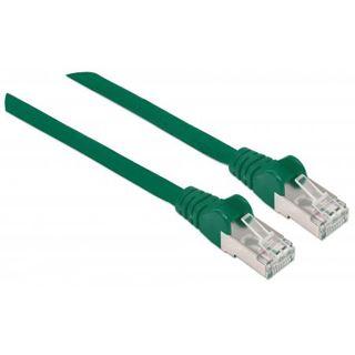(€7,80*/1m) 0.50m Intellinet Cat. 6a Patchkabel S/FTP RJ45 Stecker auf RJ45 Stecker Grün doppelt geschirmt / Kupfer / vergoldet