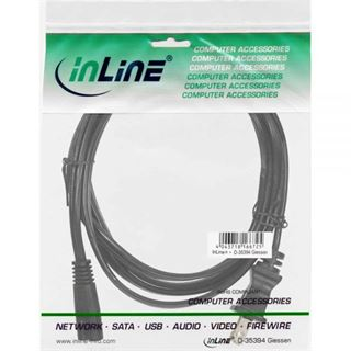 (€1,38*/1m) 5.00m InLine Stromkabel Stecker USA auf Euro 8 IEC-C7 Stecker Schwarz