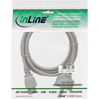 (€9,80*/1m) 0.50m InLine Stromkabel Schutzkontakt Stecker auf C5 Stecker Grau