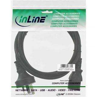 (€9,80*/1m) 0.50m InLine Stromkabel Stecker Australien/Argentinien auf Kaltgeräte Stecker C13 Schwarz