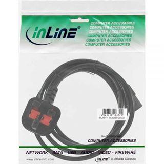 (€4,90*/1m) 1.00m InLine Stromkabel Stecker England auf Kaltgeräte Stecker C13 Schwarz