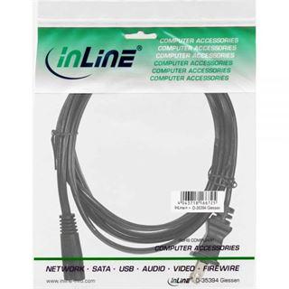 (€7,80*/1m) 0.50m InLine Stromkabel Stecker USA auf Euro 8 IEC-C7 Stecker Schwarz