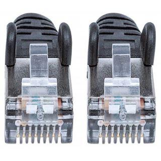 (€7,80*/1m) 0.50m Intellinet Cat. 6a Patchkabel S/FTP PiMF 500MHz RJ45 Stecker auf RJ45 Stecker Schwarz LSOH / LSZH / Rastnasenschutz