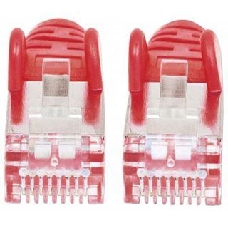 (€7,80*/1m) 0.50m Intellinet Cat. 6a Patchkabel S/FTP PiMF 500MHz RJ45 Stecker auf RJ45 Stecker Rot LSOH / LSZH / Rastnasenschutz