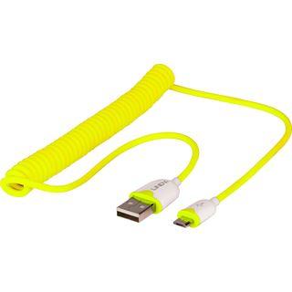 1.60m Lindy USB2.0 Spiralkabel USB A Stecker auf USB mikroB Stecker Gelb doppelt geschirmt