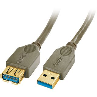 (€3,30*/1m) 3.00m Lindy USB3.0 Verlängerungskabel Super-Speed USB A Stecker auf USB A Buchse Anthrazit doppelt geschirmt / Premium