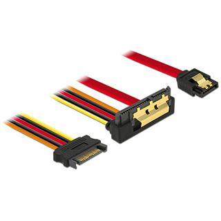 (€23,00*/1m) 0.30m Delock SATA 6Gb/s Anschlusskabel SATA Buchse + SATA Strom Stecker auf SATA Buchse 22pin Rot AWG26 / gewinkelt unten
