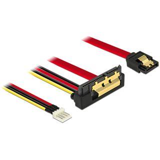 0.30m Delock SATA 6Gb/s Anschlusskabel SATA Buchse + Floppy 4pin Strom Stecker auf SATA Buchse 22pin Rot AWG26 / gewinkelt unten