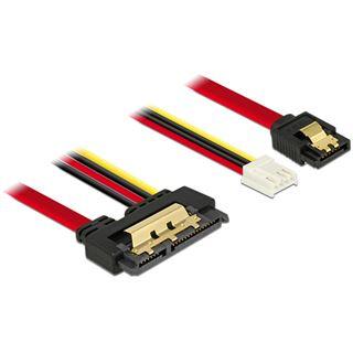 0.30m Delock SATA 6Gb/s Anschlusskabel SATA Buchse + Floppy 4pin Strom Buchse auf SATA Buchse 22pin Rot AWG26