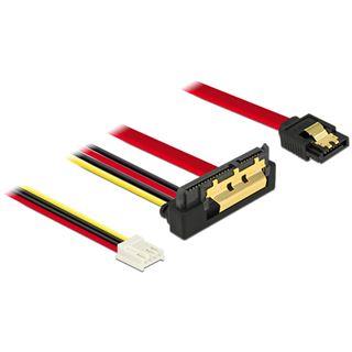 0.30m Delock SATA 6Gb/s Anschlusskabel SATA Buchse + Floppy 4pin Strom Buchse auf SATA Buchse 22pin Rot AWG26 / gewinkelt unten