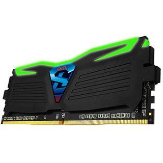 16GB GeIL EVO Super Luce grüne LED schwarz DDR4-2400 DIMM Dual Kit