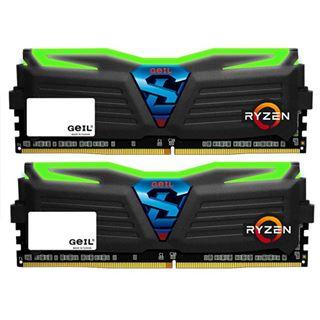 16GB GeIL Ryzen Super Luce grün LED schwarz DDR4-2400 DIMM Dual Kit