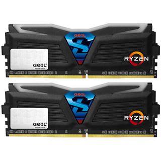 16GB GeIL Ryzen Super Luce weiße LED schwarz DDR4-2400 DIMM Dual Kit