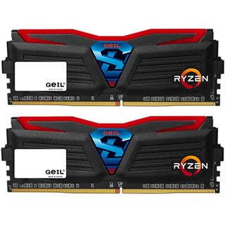 8GB GeIL Ryzen Super Luce rote LED schwarz DDR4-2400 DIMM CL16 Dual Kit