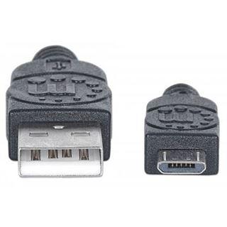 (€26,00*/1m) 0.15m Manhattan USB2.0 Anschlusskabel USB A Stecker auf USB mikroB Stecker Schwarz Polybag / PVC