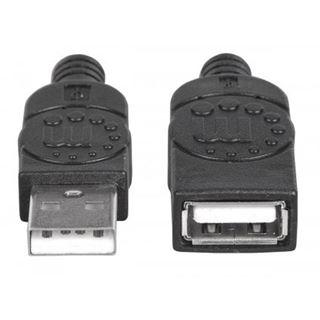 0.50m Manhattan USB2.0 Verlängerungskabel USB A Stecker auf USB A Buchse Schwarz Polybag