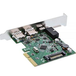 InLine Schnittstellenkarte, PCIe x4, 2x USB 3.1, 2x Typ A extern oder 1x 19pin intern