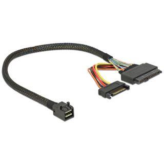 (€159,67*/1m) 0.30m Delock SAS Adapterkabel SFF-8643 Stecker auf SFF-8639 Stecker + Strom Schwarz