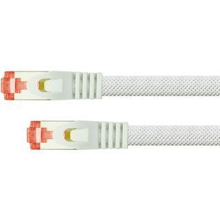 (€7,80*/1m) 0.50m PYTHON Cat. 6 Patchkabel S/FTP PiMF RJ45 Stecker auf RJ45 Stecker Weiß Nylongeflecht / Rastnasenschutz / vergoldet