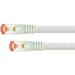 (€2,45*/1m) 2.00m PYTHON Cat. 6 Patchkabel S/FTP PiMF RJ45 Stecker auf RJ45 Stecker Weiß Nylongeflecht / Rastnasenschutz / vergoldet