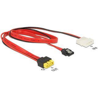 (€29,67*/1m) 0.30m Delock SATA 6Gb/s Adapterkabel SATA Buchse + Molex 4pin Strom Stecker auf SATA Stecker 8pol Power Rot mit Arretierung