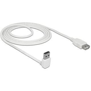 (€3,45*/1m) 2.00m Delock USB2.0 Verlängerungskabel Easy USB A Stecker auf USB A Buchse Weiß beidseitig steckbar / gewinkelt oben / gewinkelt unten