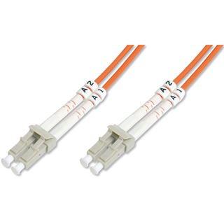 50.00m Digitus LWL Duplex Patchkabel 50/125 µm OM2 LC Stecker auf LC Stecker Orange Keramik Ferrule / mit Messprotokoll / Multimode