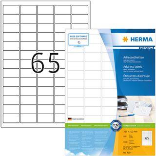 Herma Adressetiketten A4 weiß 38,1x21,2 mm Papier 6500St.