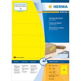 HERMA Universal-Etiketten SPECIAL, 105 x 42,3 mm, gelb