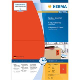 HERMA Universal-Etiketten SPECIAL, 199,6 x 143,5 mm, rot