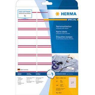 HERMA Textil/Namensetiketten A4 63,5x29,6mm 540St. weiß/rot