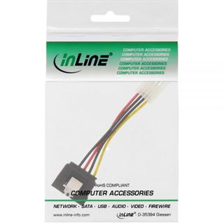 (€26,00*/1m) 0.15m InLine SATA Stromadapterkabel 4pol Buchse auf SATA Strom Stecker Schwarz/Rot/Gelb mit Arretierung