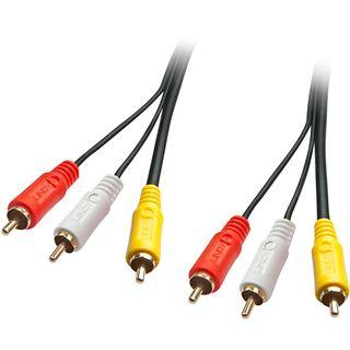 (€3,95*/1m) 2.00m Lindy Audio/Video Anschlusskabel Premium 3xCinch Stecker auf 3xCinch Stecker Schwarz geschirmt