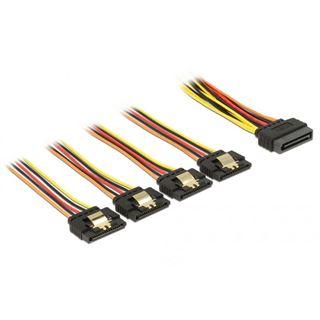 (€46,00*/1m) 0.15m Delock Strom Adapterkabel SATA SATA Stecker auf 4xSATA Buchse Schwarz/Rot/Gelb mit Arretierung