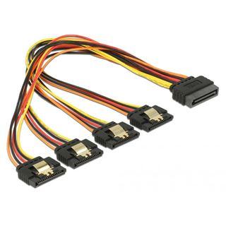(€23,00*/1m) 0.30m Delock Strom Adapterkabel SATA SATA Stecker auf 4xSATA Buchse Schwarz/Rot/Gelb mit Arretierung