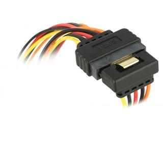 (€23,00*/1m) 0.30m Delock Strom Adapterkabel SATA SATA Stecker auf 2xSATA Buchse Schwarz/Rot/Gelb mit Arretierung
