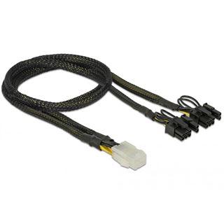 (€16,33*/1m) 0.30m Delock Strom Adapterkabel 6pol PCIe Buchse auf 2x6+2 PCIe Stecker Schwarz Nylongeflecht