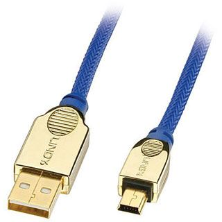 (€6,30*/1m) 3.00m Lindy USB2.0 Anschlusskabel High-Speed USB A Stecker auf USB miniB Stecker Blau Premium / vergoldete Stecker