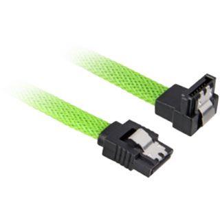 (€8,17*/1m) 0.60m Sharkoon SATA 6Gb/s Anschlusskabel SATA Stecker auf SATA Stecker gewinkelt Grün Gewebemantel / mit Arretierung